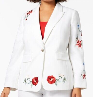Nine West Women's White Size 16W Petite Embroidered One Button Jacket $149 #112