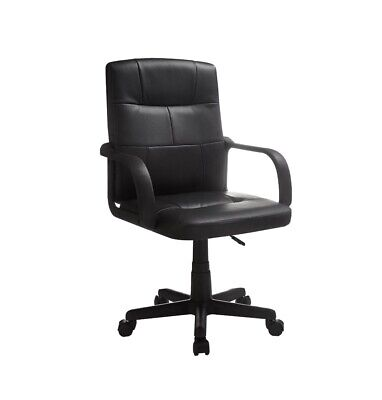 Mainstays Tufted Leather Mid-Back Office Chair, Black NEW