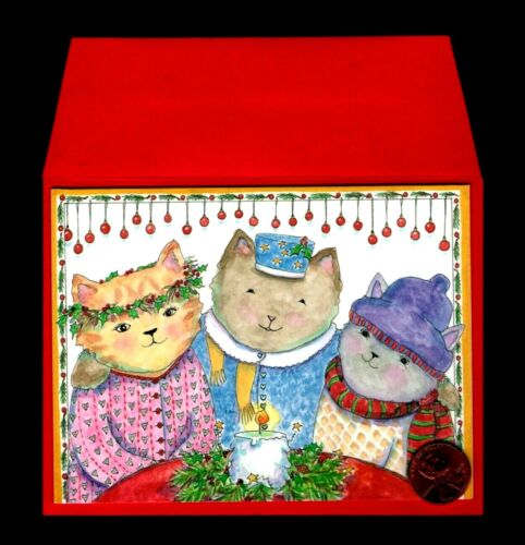 CHRISTMAS Kittens Cats Candle Holly Scarf Hat SMALL - Greeting Card W/ TRACKING