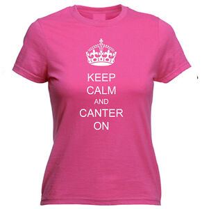 Keep Calm and Canter On + Personalised Horse Riding Tshirt Top - Many Colours