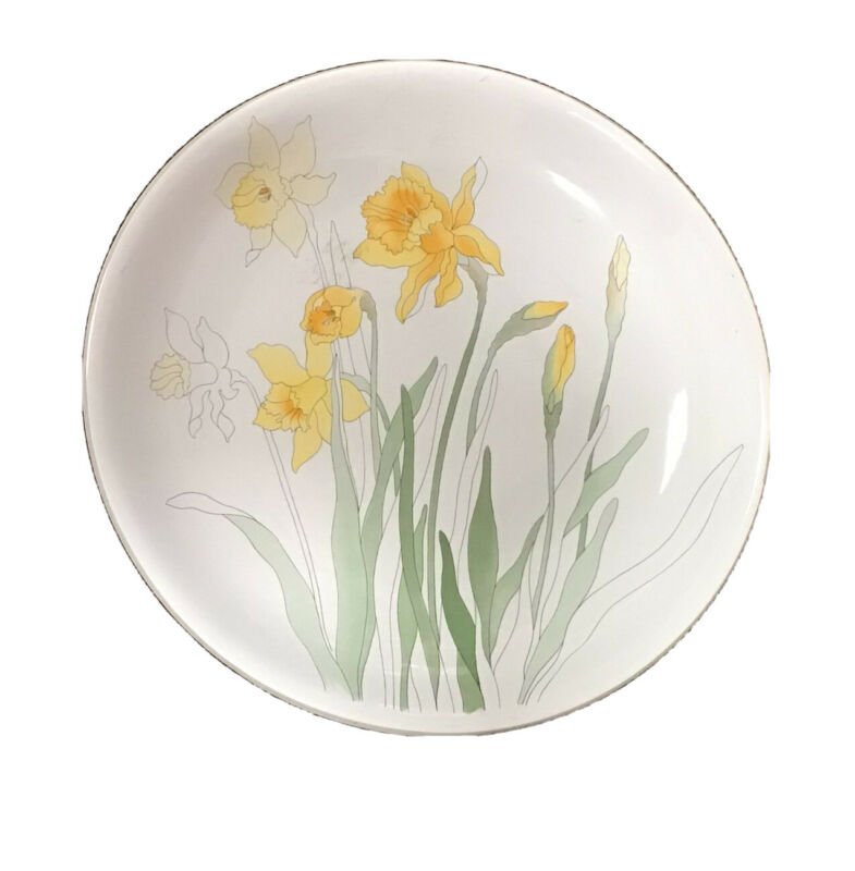 Vtg Block Bernard a Daffodil Mary Lou Goertzen Watercolors 1983 Serving Platter