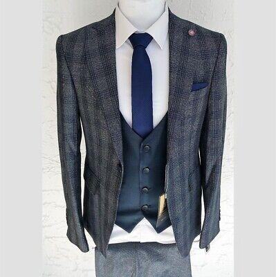 Herren Anzug Elegant 3-teilig Jacke Hose Weste Gr.46-56 Blau Kariert - Western Anzug Jacke