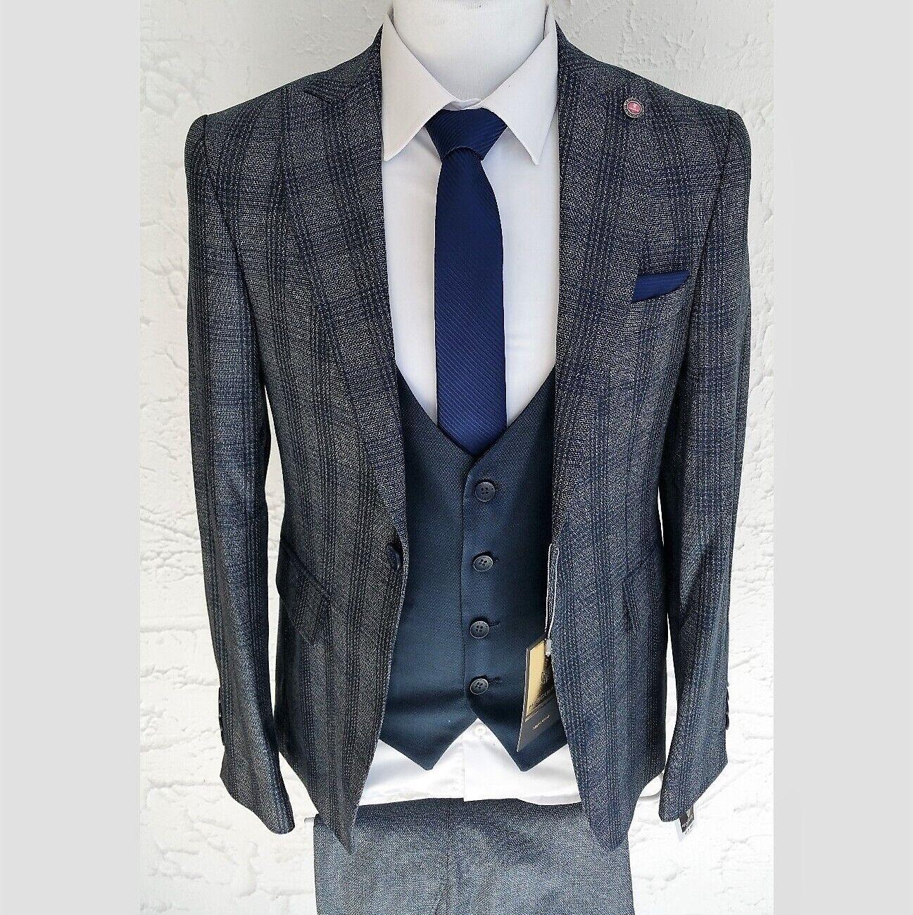 Herren Anzug Elegant 3-teilig Jacke Hose Weste Gr.46-56 Blau Kariert