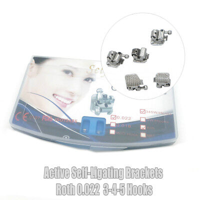 Dental Orthodontic Active Self-ligating Brackets Roth 0.022 Hook 345 With Tool
