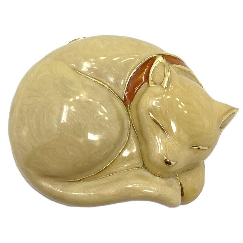 "Vintage Estee Lauder ""Beautiful"" Solid Perfume SLEEPING CAT Compact"