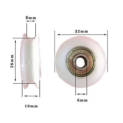 4pcs U Groove Wheel Guide Bearing Pulley Sealed Rail Ball Furniture 63210mm