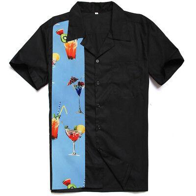 Mens 50's Retro Bowling Shirt Cocktail Print Hip Hop Rockabilly Clothing