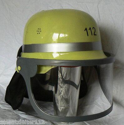 Kinder Feuerwehrhelm Deutscher Helm mit Visier Karneval Fasching Feuerwehr NEU ()