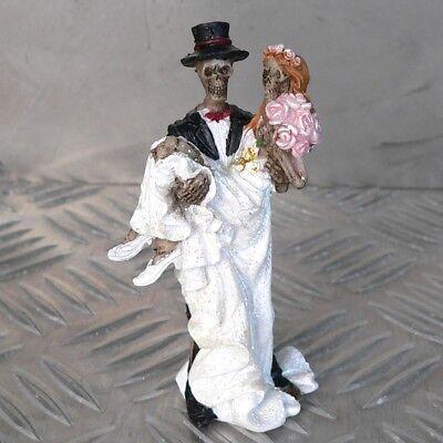 Brautpaar 9,5cm Skelett Zombie Skull Biker Hochzeit Geschenk Figur Tortenfigur