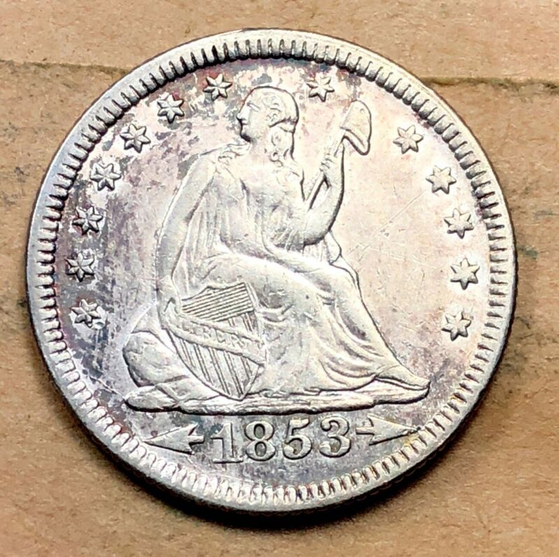 1853 Arrows and Rays Seated Liberty Quarter XF/AU
