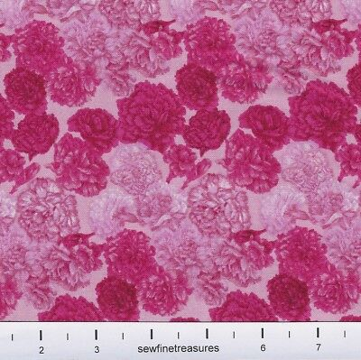 - Flower of the Month CARNATIONS PINK January Northcott Fabric By the FQ - 1/4 YD