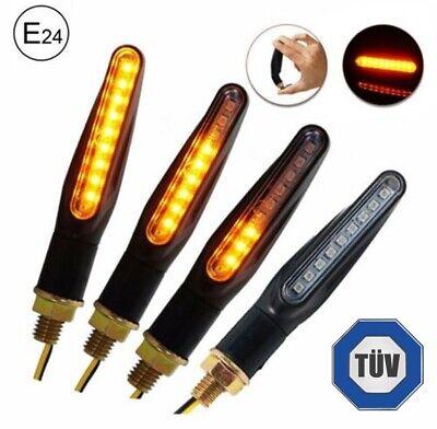 4x LED Motorrad Mini Blinker 12V | Sequentiell Lauflicht | E 24 Prüfzeichen