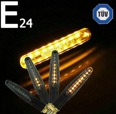 4x LED Motorrad Mini Blinker 12V | Sequentiell Lauflicht | E24 Prüfzeichen TÜV
