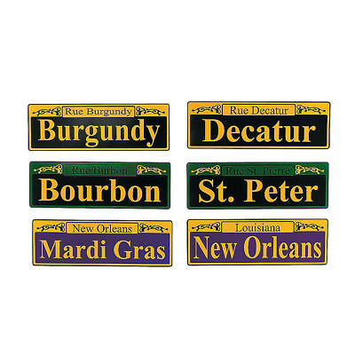 6 Mardi Gras Street Signs Decorations Fat Tuesday French Quarter New Orleans La (Mardi Gras Party Supplies)