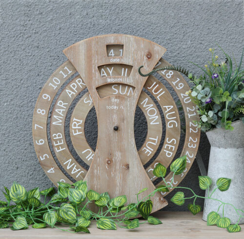 Wood Rustic Circular Wall Mounted Perpetual Calendar, Farmhouse Calendar Decor