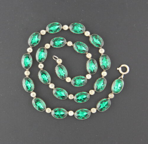 Antique Georgian Riviere Paste Necklace, Emerald & Clear, Engraved Flat Back