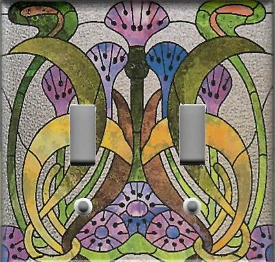 ART NOUVEAU STAINED GLASS ABSTRACT HOME WALL DECOR DOUBLE LIGHT SWITCH PLATE ()