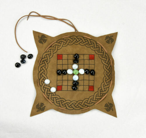 Portable Leather Irish Game Board Hnefatafl Set Celtic Brandubh Tafl Viking Game