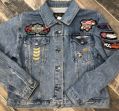 Harley Davidson Denim Jean Trucker Jacket Womens Embroid Patches Hog Pins Xl