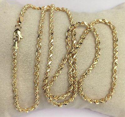 "18k Solid Yellow Gold Italian Rope Chain/Necklace. 24"". 9.90 Grams Italian Yellow Gold Chain"