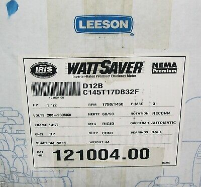 Leeson Motor 121004.00 C145t17db32f 1.5hp 1750 Rpm New But Old