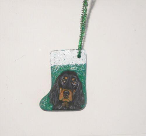 Gordon Setter Dog Christmas Ornament Decoration Hand Painted Ceramic