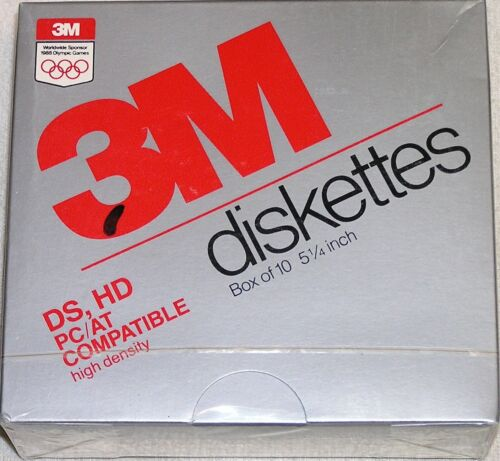 "Box of 10 3M DS HD 5 1/4""  5.25"" High Density Diskettes 1.2MB Factory Sealed NOS"