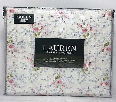 Ralph Lauren Queen Sheet Set 100% Cotton Multi-Color Spring Floral