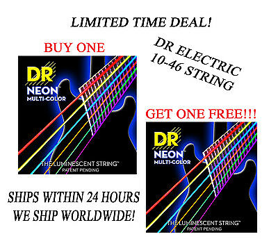 *DR HI-DEF NEON MULTI-COLOR ELECTRIC GUITAR STRINGS  -- BUY