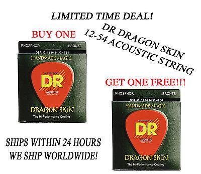 **DR DRAGON SKIN LIGHT ACOUSTIC GUITAR STRINGS (12-54) -- COATED STRINGS** Dragon Skin Coated Light