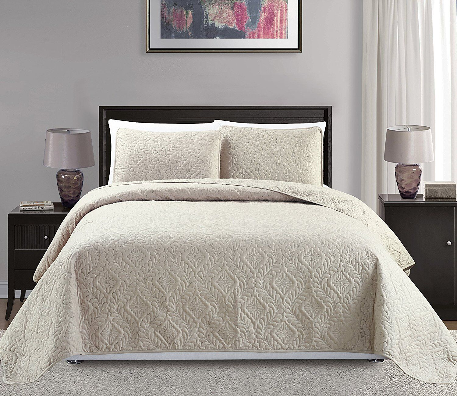 Fancy Linen 3pc Oversize Diamond Embossed Bedspread Assorted