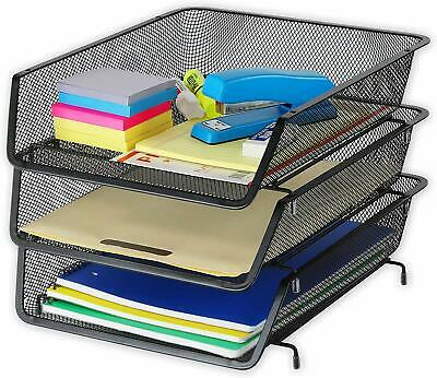 3 Pack - Stackable Desk File Document Letter Tray Organizer Black