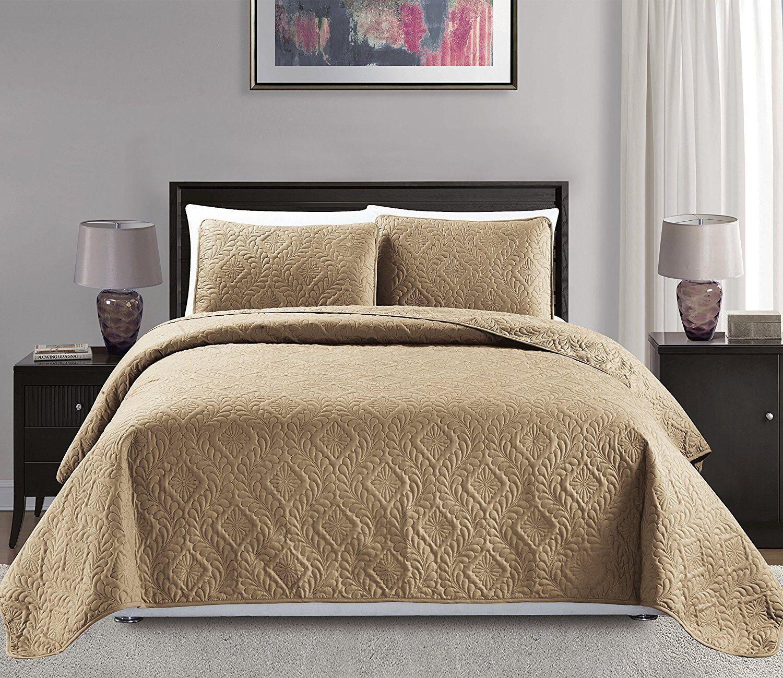 Fancy Linen 3pc Oversize Diamond Embossed Bedspread Solid Ta
