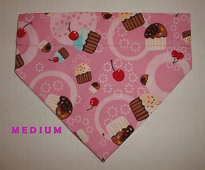 Pink Happy Birthday Cake Cupcakes Over Collar Slide On Pet Dog Cat Bandana
