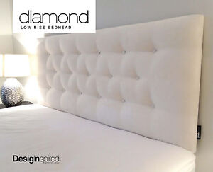DIAMOND LOW RISE Upholstered Bedhead for Queen Size Ensemble - VANILLA