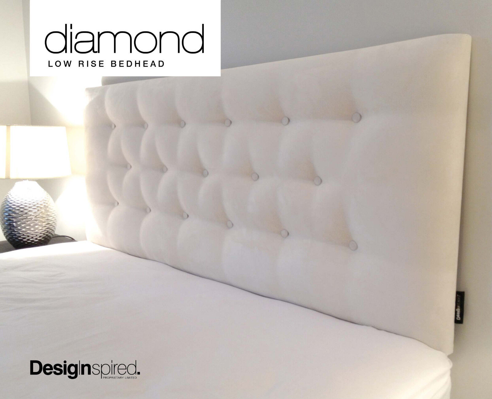 DIAMOND LOW RISE Upholstered Bedhead for Double Size Ensemble - GRAPHITE