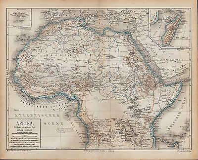 Landkarte map 1874: AFRIKA. nördlicher mittlerer Teil von Africa Sahara Madagasc