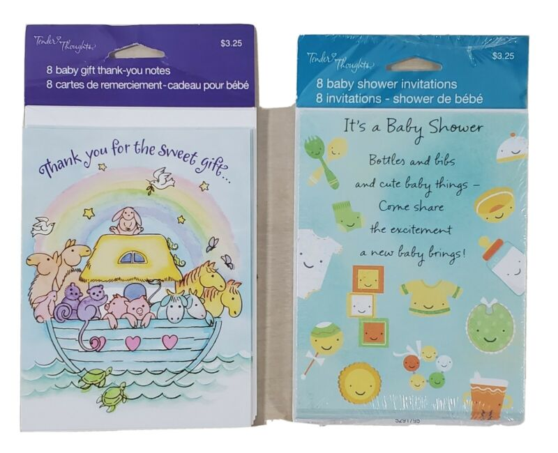 Baby Shower Invitation Cards And Envelops 8 Count + 6 Thank You Card