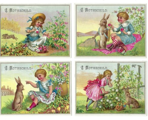 J. Rothschild French Millinery Goods Trade Cards Girl and Bunny Rabbit Lot of 4