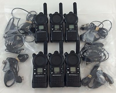 Motorola CLS1110 5-Mile 1-Channel UHF 2-Way Fair Condition Lot of 6 w/ earpieces