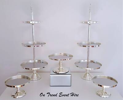 Silver cake stands and mirrored risers FOR HIRE - Party prop hire