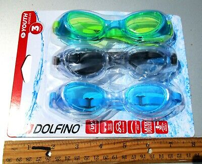 3 Pack Dolfino Swimming Goggles Youth 7+ Blue Green Grey UV Protection PC Lenses Blue Swimming Goggles