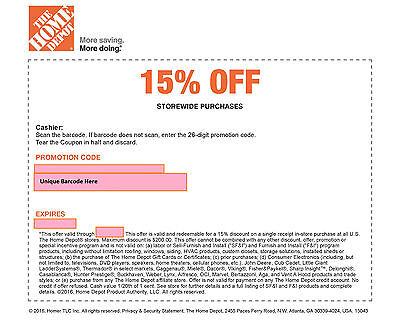 One (1) Home Depot 15% Off-Coupon Exp 5/8/17-Save Max 200$-Instore Use Only