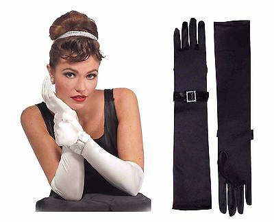 Adult Long Flapper Gloves Satin Silver Buckle Opera Length Elbow High Womens NEW