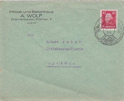 BREMERHAVEN, Briefumschlag 1927, Möbel-Bettenhaus A. Wolf