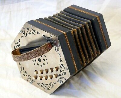 Vintage Hand Made European Accordion Concertina Squeeze Box Metal Wood Card