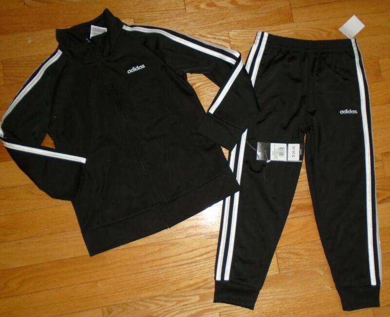 Adidas Boys Track Suit Athletic Pants Jacket Black White 5 5T 6 6X NWT
