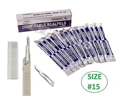 Disposable Scalpel Blades No.15 With Plastic Handle Box Of 10 Sterile