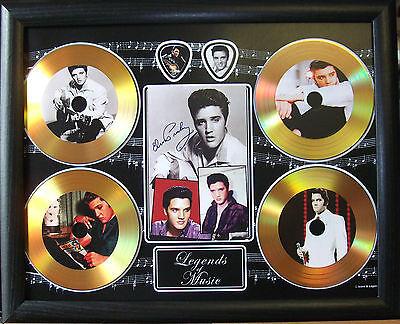 Elvis Presley Four Gold Look Discs & Plectrum Presentation