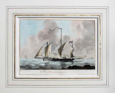 JOSEPH SIPKES - ORIGINAL Aquarell SIGNIERT 1832 Péniche Flamländer Spits Barge